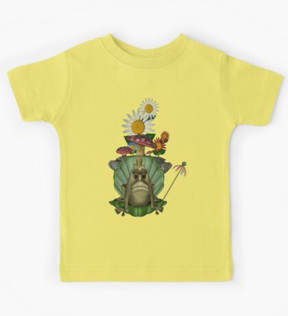 Cute Green Frog Princess Clam Shell Throne Kids Tee