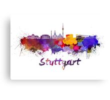 Stuttgart skyline in watercolor Canvas Print