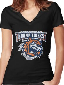 Bridgeport Sound Tigers Women's Fitted V-Neck T-Shirt
