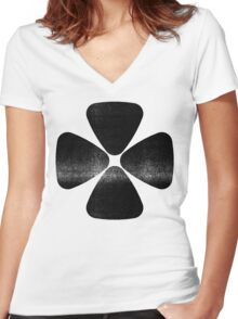 Four Leaf Clover - Black Women's Fitted V-Neck T-Shirt