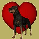 Rottweiler Dog And Red Heart by SmilinEyes