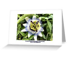"""PASSION FLOWER  / BIBLE VERSE """"UNTO DEATH"""" Greeting Card"""