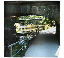 Reflections under the old blue stone bridge Woodend Vic Australia Poster