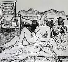 Life Drawing with Truck & Skeleton by Sylvia  Hollis