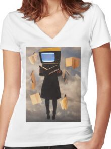 When history is erased, hysteria begins Women's Fitted V-Neck T-Shirt