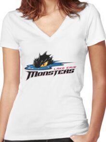 Lake Erie Monsters Women's Fitted V-Neck T-Shirt