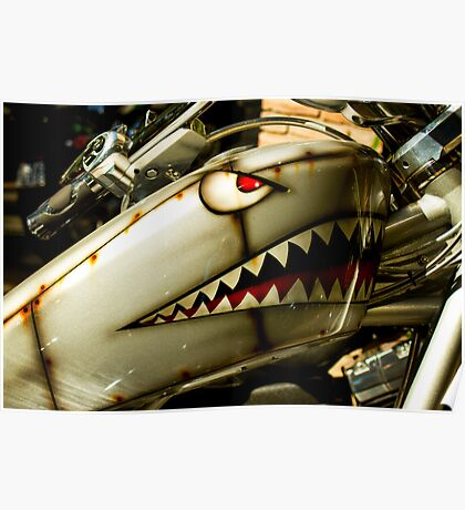 The shark. Custom painted Harley tank Poster