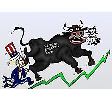 Wall Street Bull Tramples Uncle Sam Income Photographic Print