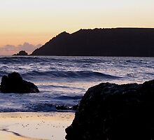 South Devon Gara Rock To Bolt Head Salcombe Autunm Sunset by richard wolfe