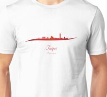 Taipei skyline in red Unisex T-Shirt