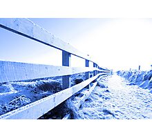 cold snow covered path on cliff fenced walk Photographic Print