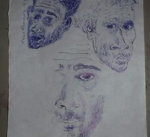 3 x Self-portraits -(090313)- Blue biro pen/torn off A4 sheet by paulramnora