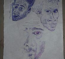 3 x Self-portraits -(090313)- Blue biro pen/torn off A4 sheet by paulramnora