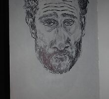Self-portrait -(230912)- Black biro pen/A5 sketchbook by paulramnora