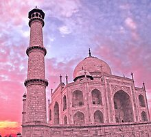 Taj Mahal Pink Sunset by David Alexander Elder