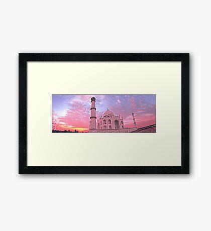Taj Mahal Pink Sunset Framed Print