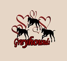 Greyhound Silhouettes Red Hearts Womens Fitted T-Shirt