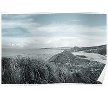 dark atlantic ocean beside a links golf course Poster