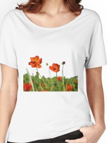 Red Cosmos Flower In A Meadow Isolated on White Women's Relaxed Fit T-Shirt