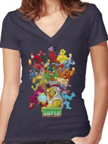 Super Sesame Street Fighter Women's Fitted V-Neck T-Shirt