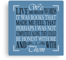 We Live and Breathe Words (Blue) Canvas Print