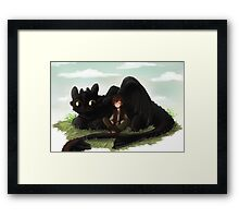 Toothless and Hiccup- HTTYD Framed Print