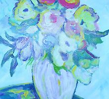 Blue Floral Still Life by artqueene