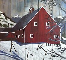 Snowmass Barn in Paint by Catherine DeCocco