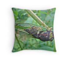 Annual Cicada - Green Bug With Sticky Feet Throw Pillow