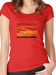 Flame Coloured Sunset Sky Women's Fitted Scoop T-Shirt