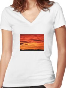 Flame Coloured Sunset Sky Women's Fitted V-Neck T-Shirt
