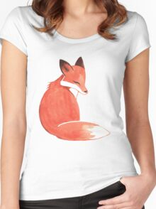 Watercolor Fox Women's Fitted Scoop T-Shirt