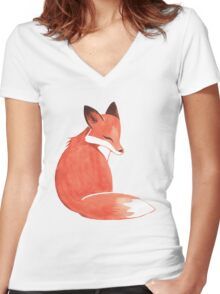 Watercolor Fox Women's Fitted V-Neck T-Shirt