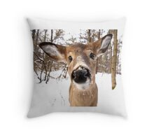 Nosey - White-tailed Deer Throw Pillow
