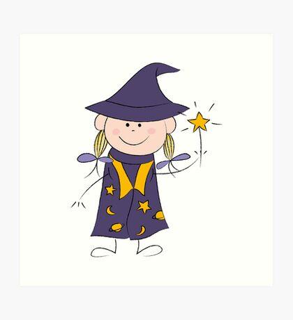 Girl with magic wand Art Print
