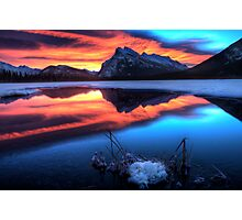 Vermillion Lakes Mount Rundle  Photographic Print