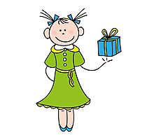 Girl with Gift Photographic Print