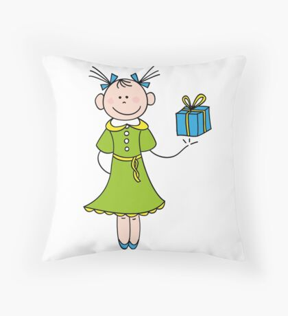 Girl with Gift Throw Pillow