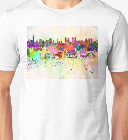 Tel Aviv skyline in watercolor background Unisex T-Shirt