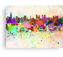 Tel Aviv skyline in watercolor background Canvas Print