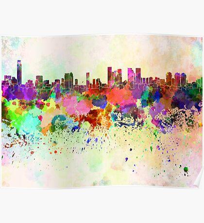 Tel Aviv skyline in watercolor background Poster