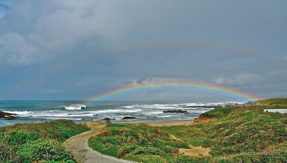 Double Rainbo At Pescadero Beach by Scott Johnson