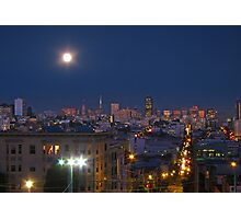 City Lights under the Moon Photographic Print