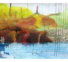 Abstract Ink Landscape with Water, Mountains, Fall Trees Photographic Print