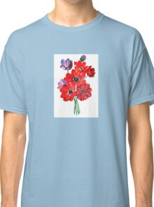 A Posy Of Wild Red And Lilac Anemone Coronaria Classic T-Shirt