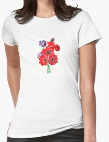 A Posy Of Wild Red And Lilac Anemone Coronaria T-Shirt
