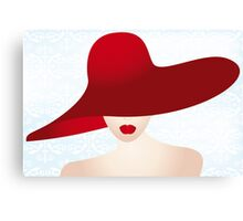 Portrait of the lady with the red hat Canvas Print