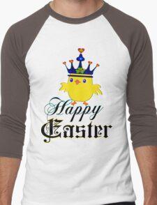 ㋡♥♫Happy Easter Blue Eyed Irish King Chicken Clothing & Stickers♪♥㋡ Men's Baseball ¾ T-Shirt