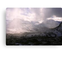 clouds sweeping through valley Canvas Print