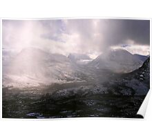 clouds sweeping through valley Poster